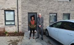 Cllr Devlin with resident