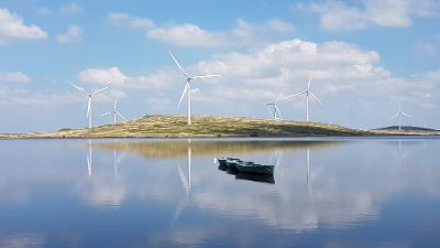 Boats on Lochgoin Reservoir, Whitelee Windfarm