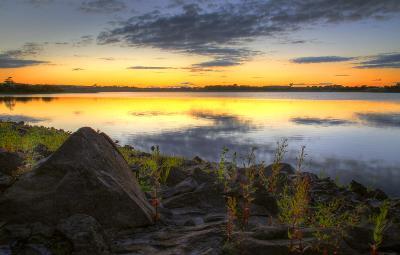 Balgray Reservoir sunset, Dams to Darnley